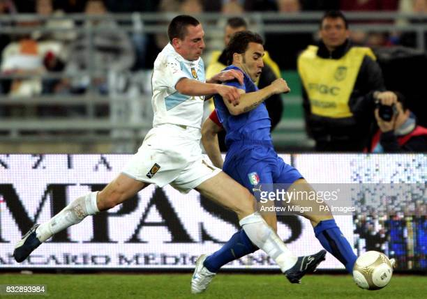 Italy's Fabio Cannavaro and Scotland's Scott Brown battle for the ball