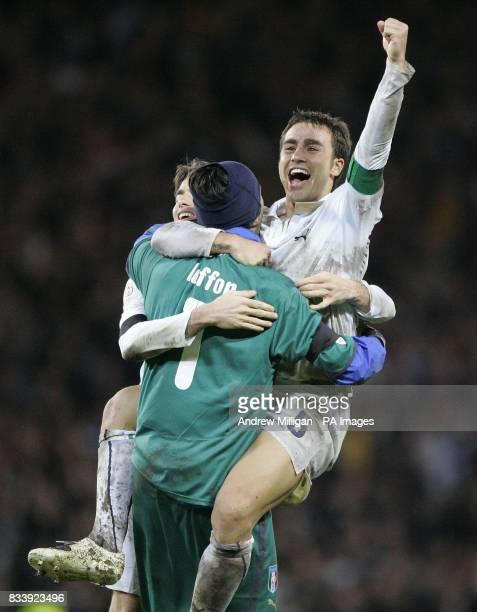 Italy's Fabio Cannavaro celebrates with goalkeeper Gianluigi Buffon