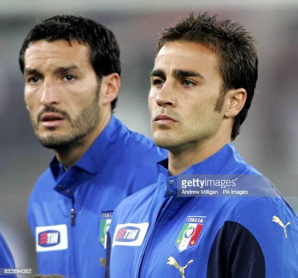 Italy's Fabio Cannavaro lines up prior to the game