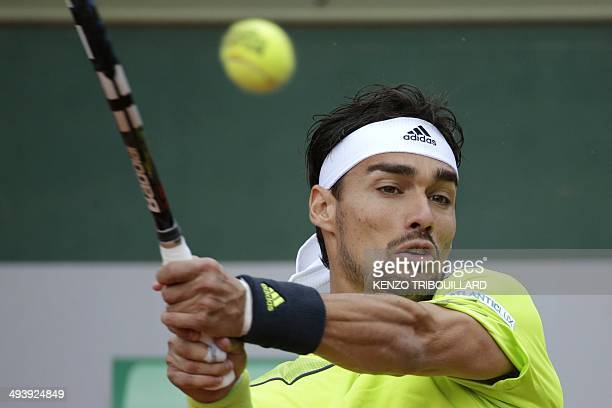 Italy's Fabio Fognini hits a return to Germany's Andreas Beck during their French tennis Open first round match at the Roland Garros stadium in Paris...