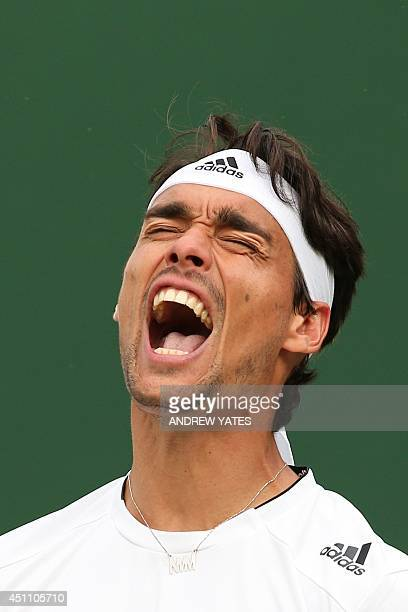 Italy's Fabio Fognini reacts after a point against US player Alex Kuznetsov during their men's singles first round match on day one of the 2014...