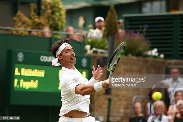 Italy's Fabio Fognini returns against US player Alex Kuznetsov during their men's singles first round match on day one of the 2014 Wimbledon...
