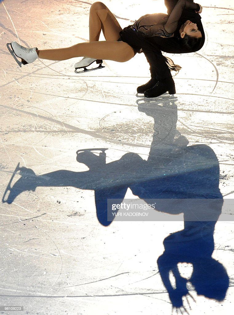 Italy's Federica Faiella and Massimo Scali perform during the exhibition gala of the World Figure Skating Championships on March 28, 2010 at the Palavela ice-rink in Turin.