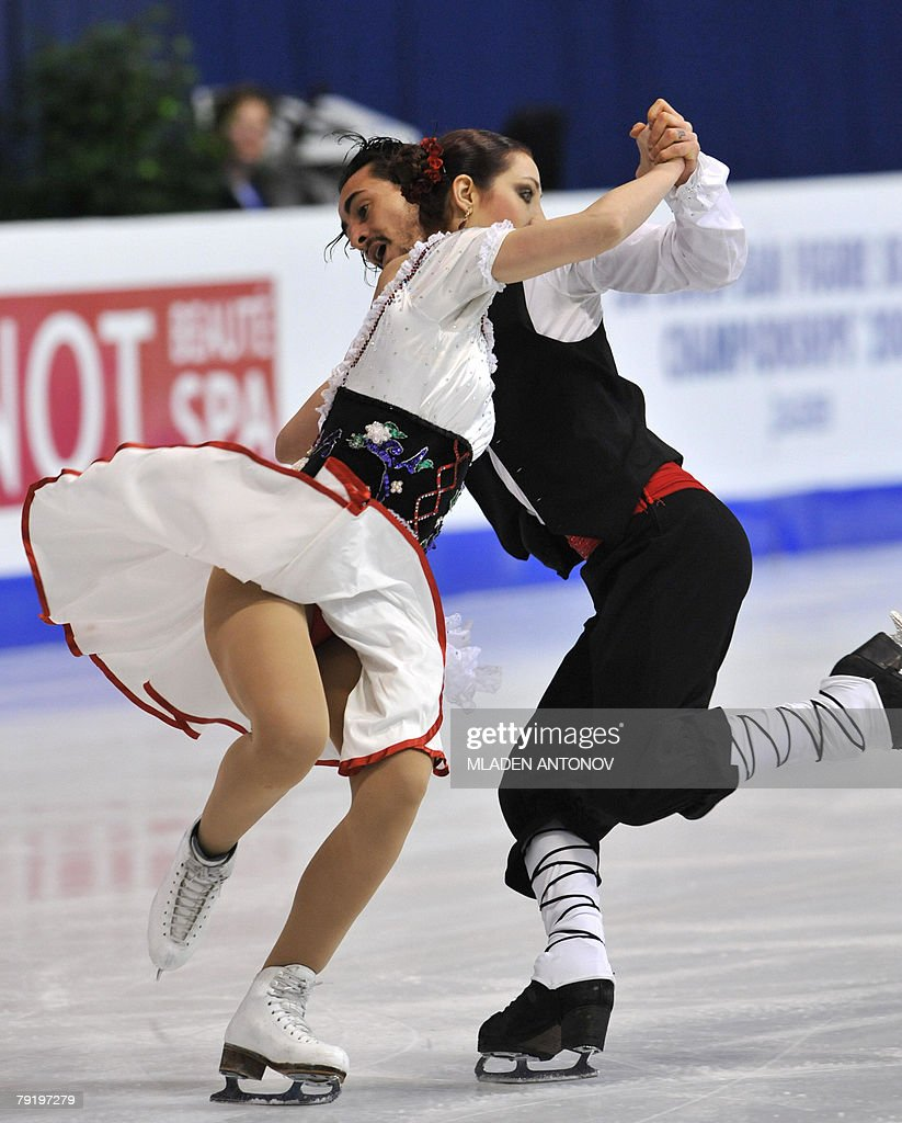 Italy's Federica Faiella and Massimo Scali perform their original dance at the Dom Sportova Arena in Zagreb, 24 January 2008, during the European Figure Skating Championships 2008.