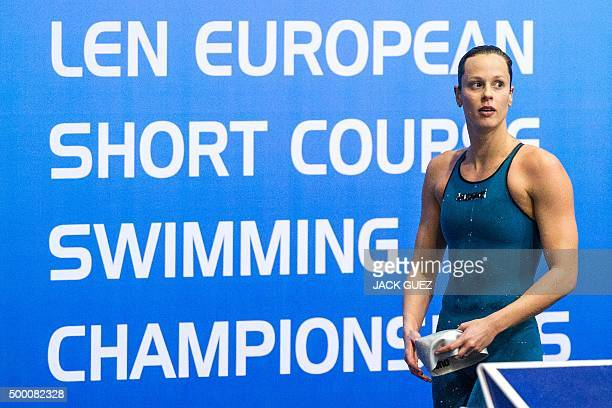 Italy's Federica Pellegrini looks on after winning in the finals of the women's 200m freestyle swimming event as part of the 18th European Short...