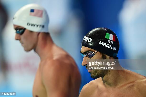 Italy's Filippo Magnini prepares to compete in a preliminary heat of the men's 200m freestyle swimming event at the 2015 FINA World Championships in...