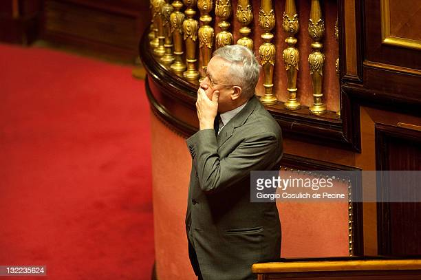 Italy's Finance minister Giulio Tremonti attends the vote on the 2012 Budget Law at the Senate on November 11 2011 in Rome Italy Italian Prime...
