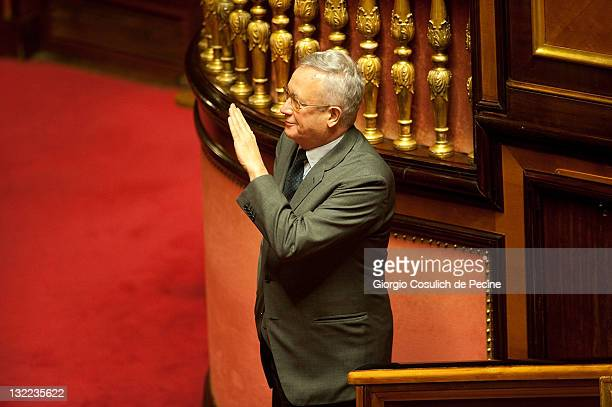 Italy's Finance minister Giulio Tremonti gestures as he attend the vote on the 2012 Budget Law at the Senate on November 11 2011 in Rome Italy...