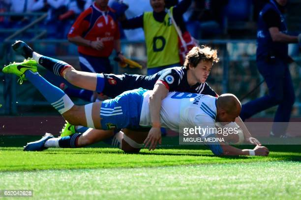 Italy's flanker Sergio Parisse scores a try during the International Six Nations rugby union match Italy vs France on March 11 2017 at the Olympic...