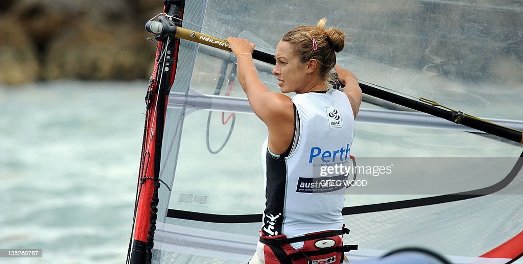 Italy's Flavia Tartaglini prepares for a start in the first Gold Fleet race in the