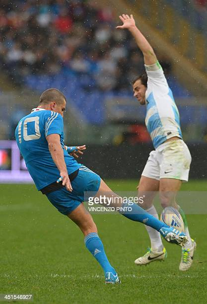Italy's flyhalf Tommaso Allan kicks the ball next to Argentinian fly half Nicolas Sanchez during the rugby union test match Italy vs Argentina at the...