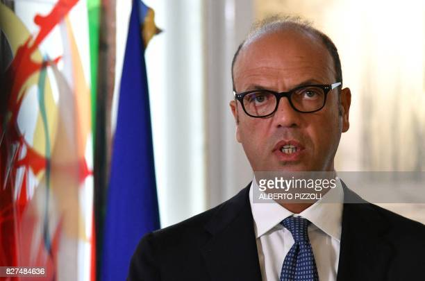 Italy's Foreign Minister Angelino Alfano delivers a press conference with the Special Representative to the Secretary General of the United Nations...