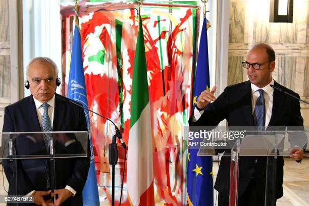 Italy's Foreign Minister Angelino Alfano delivers a press conference with Ghassan Salame Special Representative to the Secretary General of the...