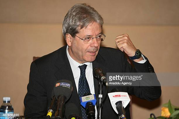 Italy's Foreign Minister Paolo Gentiloni attends a press conference with Algeria's Foreign Minister Ramtane Lamamra in Algiers Algeria on February 02...