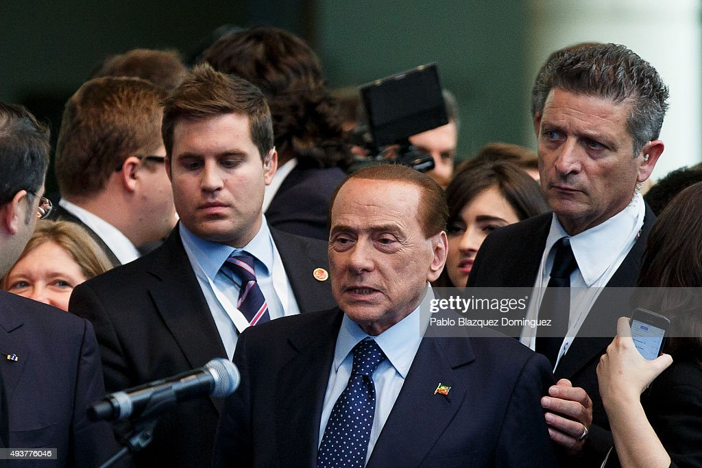 Italy's former Prime Minister <a gi-track='captionPersonalityLinkClicked' href=/galleries/search?phrase=Silvio+Berlusconi&family=editorial&specificpeople=201842 ng-click='$event.stopPropagation()'>Silvio Berlusconi</a> arrives to the plenary session of the European People's Party (EPP) Congress on October 22, 2015 in Madrid, Spain. Madrid is hosting the European People's Party (EPP) for two days of congress, gathering conservative parties from across Europe and 14 heads of states from EU and non-EU countries. Some of main issues the EPP congress are to discuss will be economic policies and immigration.