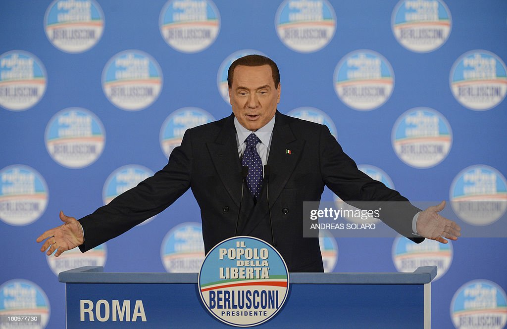 Italy's former Prime minister Silvio Berlusconi delivers a speech during a rally of his party 'Il Popolo della liberta' (People of the Freedom - PDL) in Rome, on February 7, 2013.
