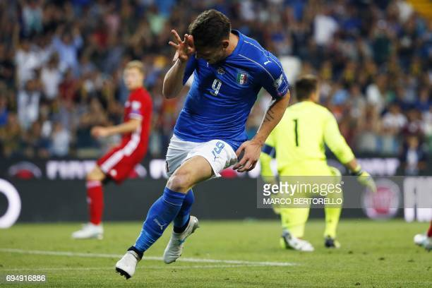 Italy's forward Andrea Belotti celebrates after scoring a goal during the FIFA World Cup 2018 qualification football match between Italy and...