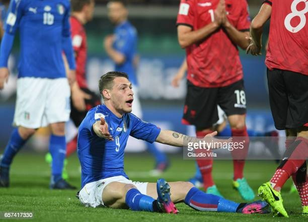 Italy's forward Andrea Belotti reacts during the FIFA 2018 World Cup Qualifier between Italy and Albania at Stadio Renzo Barbera on March 24 2017 in...