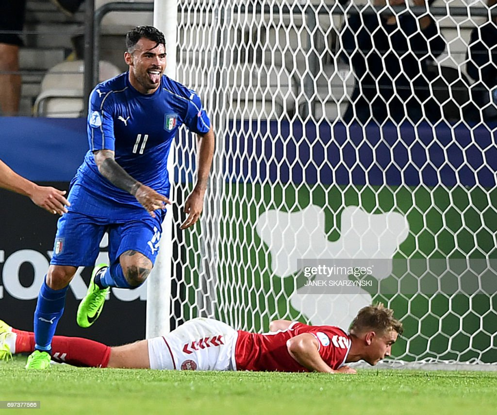 Italy's forward Andrea Petagna reacts after he scored during the UEFA U-21 European Championship Group C football match Denmark v Italy in Krakow, Poland on June 18, 2017. Italy won the match 0-2. /