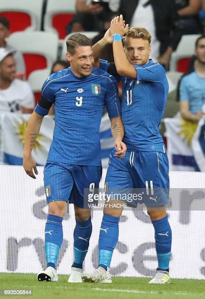 Italy's forward Ciro Immobile and Andrea Belotti celebrates after a goal during a friendly football match Italy vs Uruguay at the Allianz Riviera...