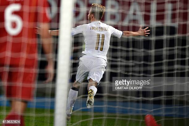 Italy's forward Ciro Immobile celebrates after scoring a goal during the FIFA World Cup 2018 qualifying football match between Macedonia and Italy on...