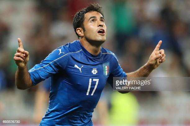 Italy's forward Eder celebrates after scoring a goal during the friendly football match Italy vs Uruguay at the Allianz Riviera Stadium in Nice...