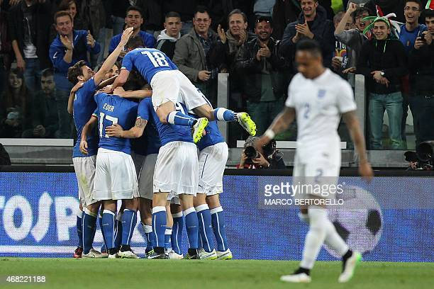 Italy's forward Graziano Pell celebrates after scoring a goal during the friendly football match Italy vs England on March 31 2015 at the 'Juventus...