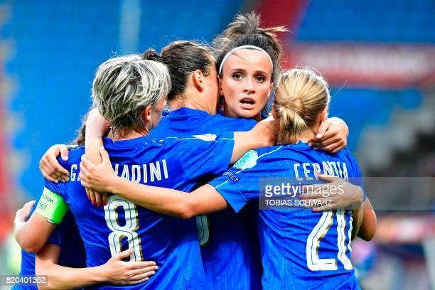 Italy's forward Ilaria Mauro celebrates after scoring a goal during the UEFA Women's Euro 2017 football tournament between Germany and Italy at...