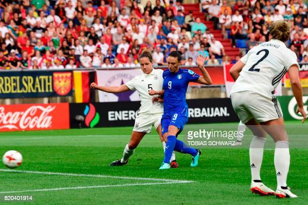 Italy's forward Ilaria Mauro scores a goal during the UEFA Women's Euro 2017 football tournament between Germany and Italy at Stadium Koning Willem...