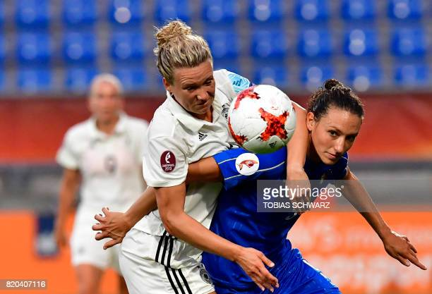 Italy's forward Ilaria Mauro vies with Germany's defender Josephine Henning during the UEFA Women's Euro 2017 football tournament between Germany and...