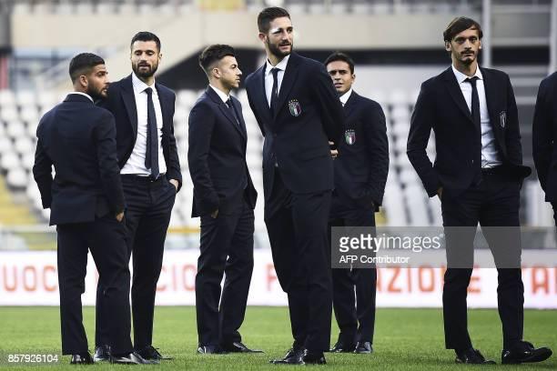 Italy's forward Lorenzo Insigne Italy's forward Antonio Candreva Italy's forward Stephan El Shaarawy Italy's midfielder Roberto Gagliardini Italy's...