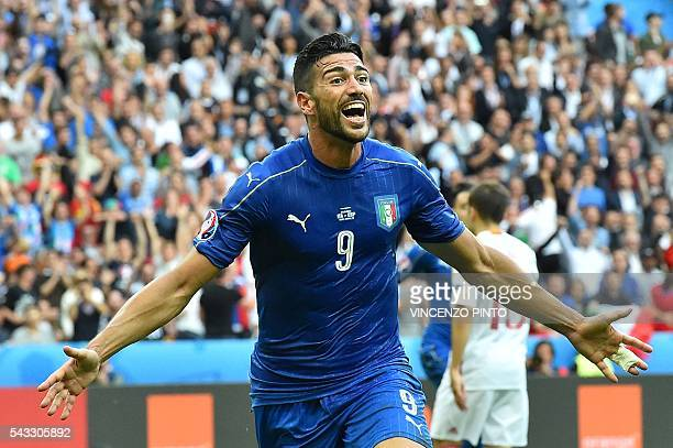 TOPSHOT Italy's forward Pelle celebrates after scoring a goal during the Euro 2016 round of 16 football match between Italy and Spain at the Stade de...