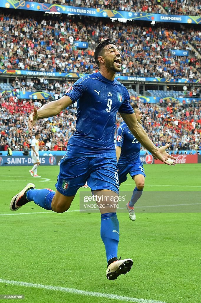 Italy's forward Pelle celebrates after scoring a goal during the Euro 2016 round of 16 football match between Italy and Spain at the Stade de France stadium in Saint-Denis, near Paris, on June 27, 2016. PINTO
