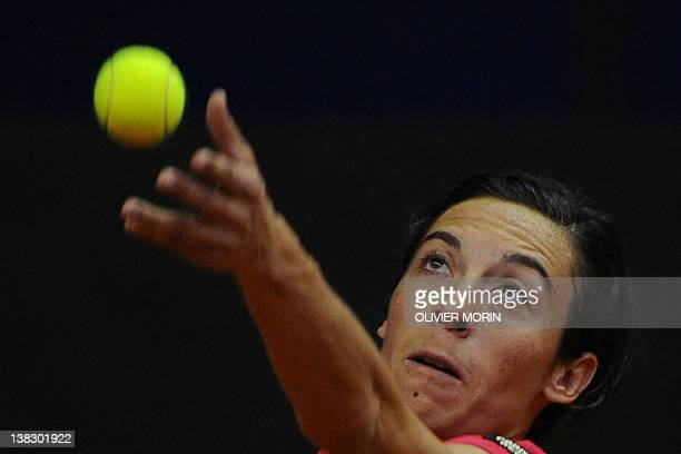 Italy's Francesca Schiavone returns a ball to Ukraine's Kateryna Bondarenko during the third match of the first round of Fed Cup World Group 1 on...