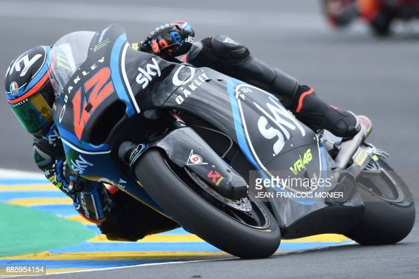 Italy's Francesco Bagnaia competes on his Sky Racing Team VR46 N° 42 and clocked the second position on the starting grid during a Moto2 qualifying...