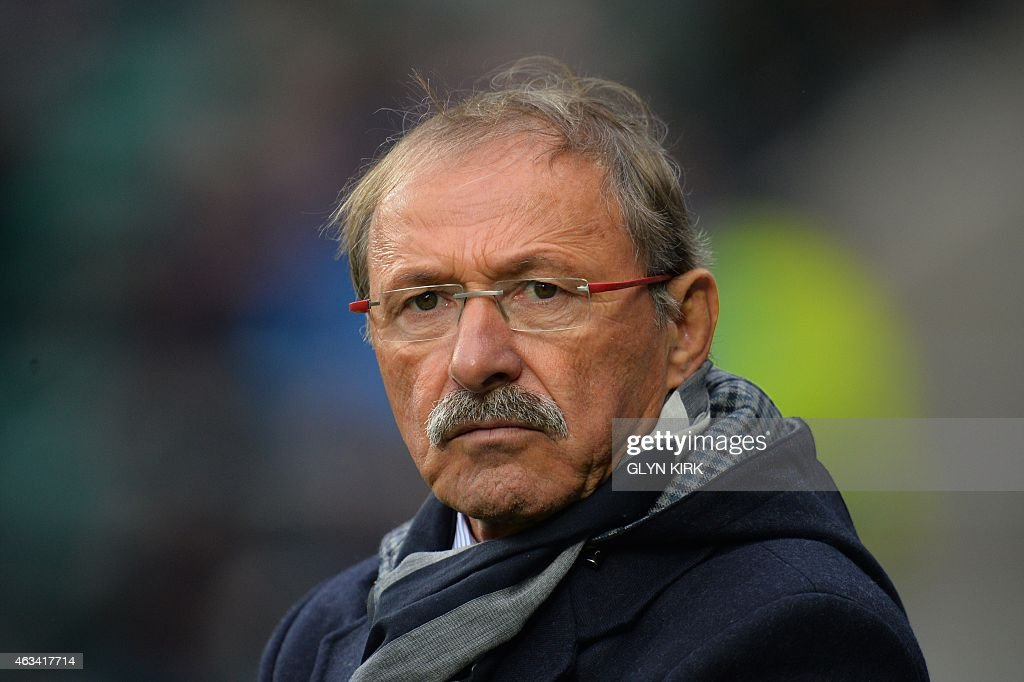 Italy's French coach <a gi-track='captionPersonalityLinkClicked' href=/galleries/search?phrase=Jacques+Brunel&family=editorial&specificpeople=557558 ng-click='$event.stopPropagation()'>Jacques Brunel</a> during the warm up before kick off of the Six Nations international rugby union match between England and Italy at Twickenham Stadium in south west London on February 14, 2015.