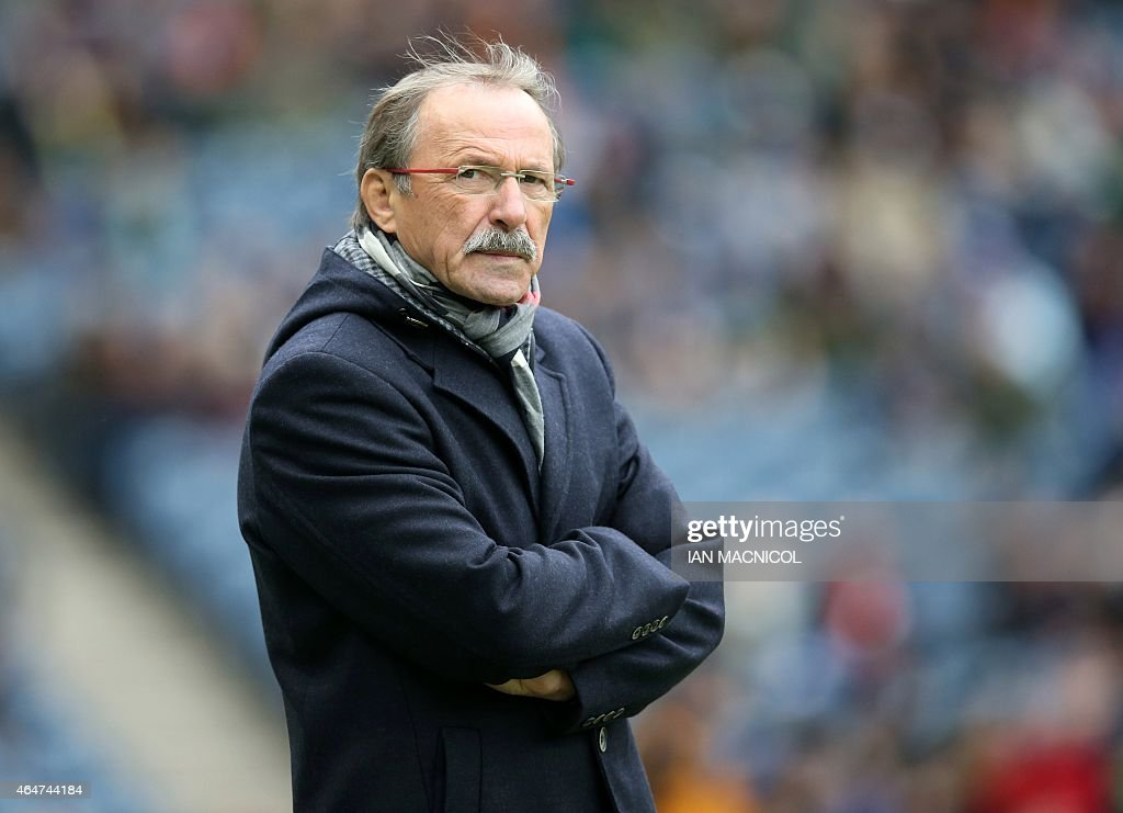 Italy's French coach <a gi-track='captionPersonalityLinkClicked' href=/galleries/search?phrase=Jacques+Brunel&family=editorial&specificpeople=557558 ng-click='$event.stopPropagation()'>Jacques Brunel</a> on the pitch aheda of the Six Nations international rugby union match between Scotland and Italy at Murrayfield in Edinburgh, Scotland on February 28, 2015.