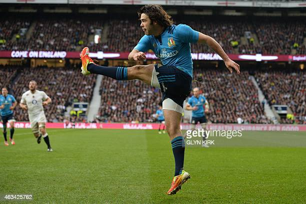 Italy's full back Luke McLean kicks the ball during the Six Nations international rugby union match between England and Italy at Twickenham Stadium...