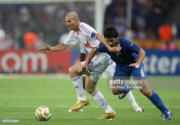 Italy's Gennaro Gattuso and France's Zinedine Zidane battle for the ball