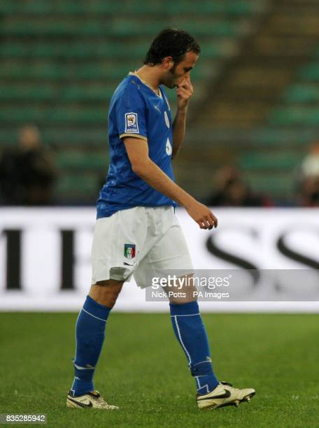 Italy's Giampaolo Pazzini is sent off during the World Cup Qualifying match at the Stadio San Nicola Bari Italy