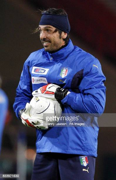 Italy's Gianluigi Buffon during a training session at Hampden Park Glasgow