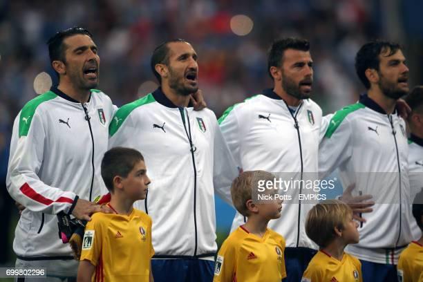 Italy's Gianluigi Buffon Giorgio Chiellini Andrea Barzagli and Marco Parolo sing their national anthem