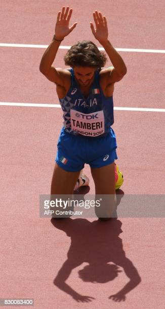 Italy's Gianmarco Tamberi celebrates after a successful jump in the men's high jump athletics event at the 2017 IAAF World Championships at the...
