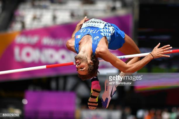 Italy's Gianmarco Tamberi competes in the men's high jump athletics event at the 2017 IAAF World Championships at the London Stadium in London on...