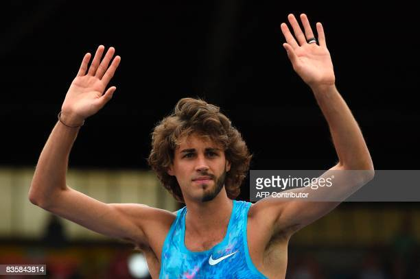 Italy's Gianmarco Tamberi competes in the men's high jump during the 2017 IAAF Birmingham Diamond League athletics meeting at Alexander Stadium in...