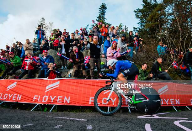 Italy's Gianni Moscon competes during the men elite individual time trial at the UCI Cycling Road World Championships on September 20 2017 in Bergen...