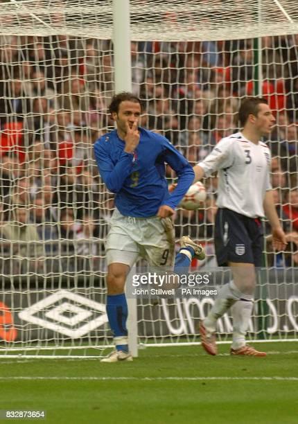 Italy's Gianpaolo Pazzini celebrates scoring his sides third goal of the game