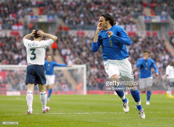 Italy's Gianpaolo Pazzini celebrates scoring the opening goal of the game within the first 30seconds of the match at the new Wembley Stadium