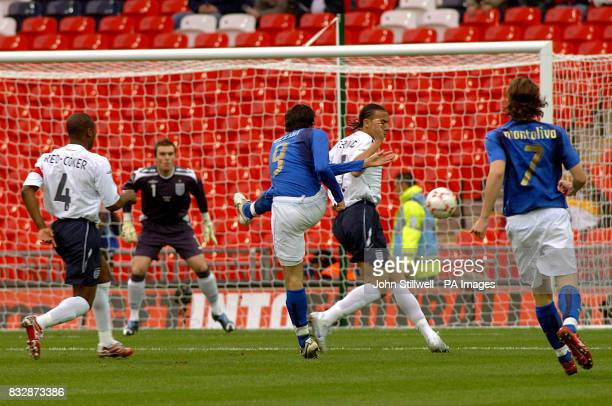 Italy's Gianpaolo Pazzini scores the opening goal of the game within the first 30seconds of the match at the new Wembley Stadium