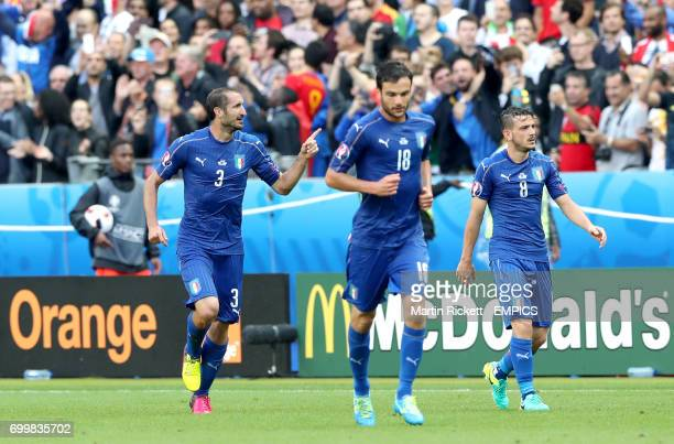 Italy's Giorgio Chiellini celebrates scoring his side's first goal of the game